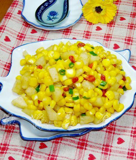 怎么做,香梨炒玉米的做法,详细步骤图解  香梨炒玉米的做法(水果菜谱